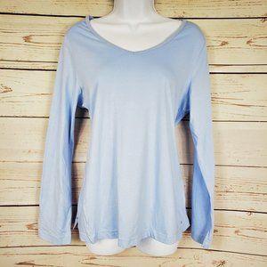 Charter Club long sleeve round neck blue pj shirt